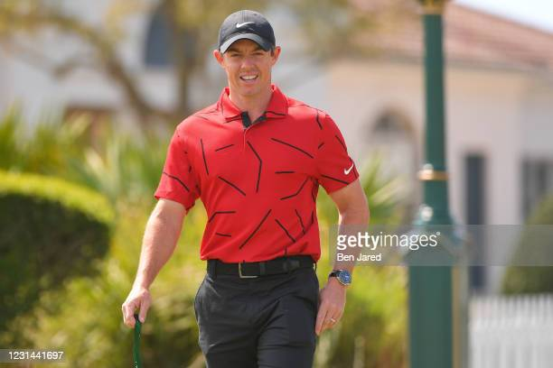 Rory McIlroy of Northern Ireland warms up during the final round of the World Golf Championships-Workday Championship at The Concession on February...