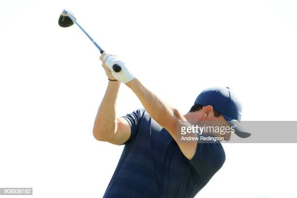 Rory McIlroy of Northern Ireland warms up on the range for round two of the Abu Dhabi HSBC Golf Championship at Abu Dhabi Golf Club on January 19...
