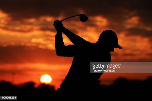 Rory McIlroy of Northern Ireland warms up on the range prior to round one of the Abu Dhabi HSBC Golf Championship at Abu Dhabi Golf Club on January...