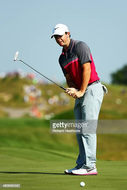 Rory McIlroy of Northern Ireland watches a missed putt on the 15th green during the second round of the 2015 PGA Championship at Whistling Straits on...