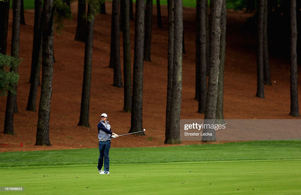 Rory McIlroy of Northern Ireland watches a shot on the 3rd hole during the second round of the Wells Fargo Championship at Quail Hollow Club on May 3, 2013 in Charlotte, North Carolina.