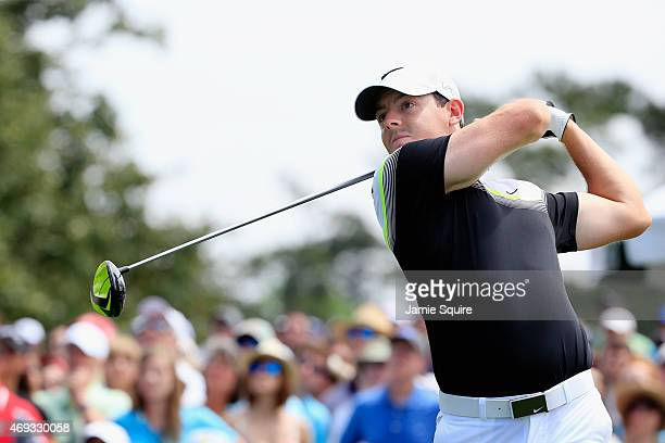 Rory McIlroy of Northern Ireland watches his tee shot on the first hole during the third round of the 2015 Masters Tournament at Augusta National...