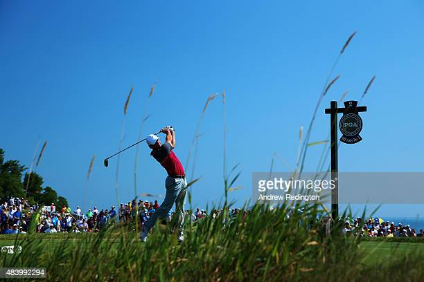 Rory McIlroy of Northern Ireland watches his tee shot on the second hole during the second round of the 2015 PGA Championship at Whistling Straits on...
