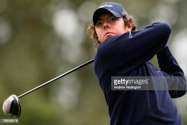 Rory McIlroy of Northern Ireland watches his tee-shot on the third hole during the second round of the Quinn Direct British Masters on the Brabazon...