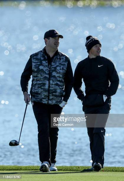 Rory McIlroy of Northern Ireland with Carson Daly the American Television host during the proam as a preview for the 2019 Arnold Palmer Invitational...