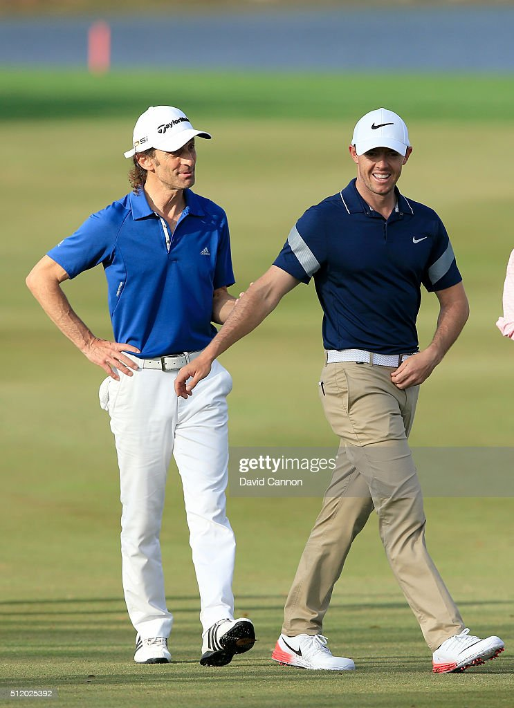Rory McIlroy of Northern Ireland with Kenny G of the United States the musician during the pro-am as a preview for the 2016 Honda Classic held on the PGA National Course at the PGA National Resort and Spa on February 24, 2016 in Palm Beach Gardens, Florida.