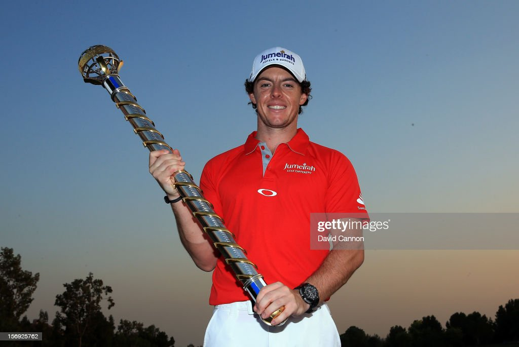 Rory McIlroy of Northern Ireland with the DP World Tour Championship Trophy after his win during the final round of the 2012 DP World Tour Championship on the Earth Course at Jumeirah Golf Estates on November 25, 2012 in Dubai, United Arab Emirates.
