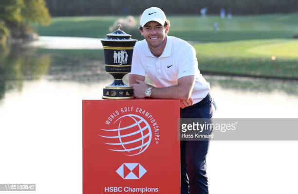 Rory McIlroy of Northern Ireland with the Old Tom Morris Cup after the final round of the WGC HSBC Champions at Sheshan International Golf Club on...
