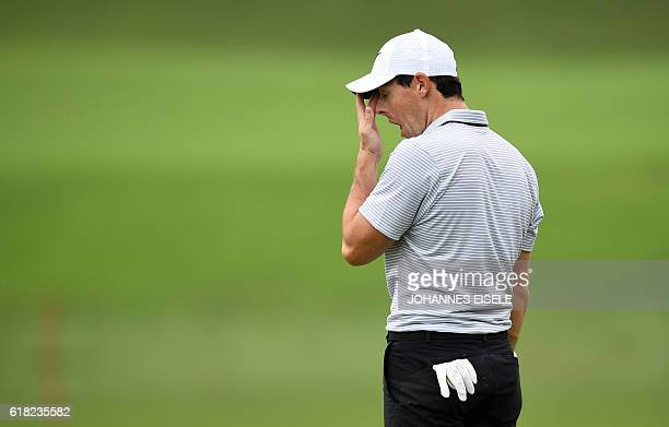 Rory McIlroy of Northern Ireland yawns during the ProAm event for the World Golf ChampionshipsHSBC Champions golf tournament in Shanghai on October...