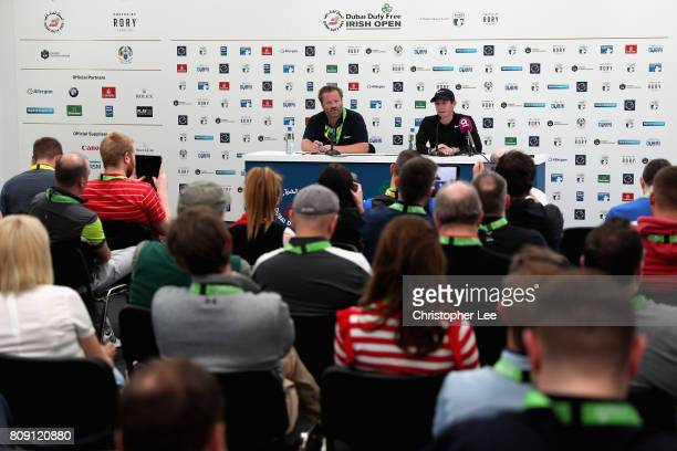 Rory Mcilroy of Nothern Ireland speaks in a press conference during the ProAm of the Dubai Duty Free Irish Open at Portstewart Golf Club on July 5...