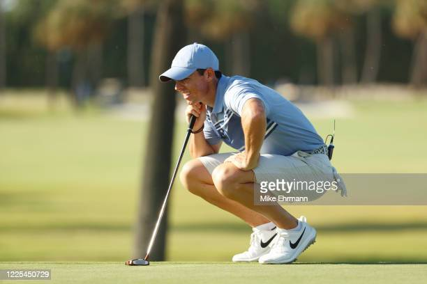 Rory McIlroy of the American Nurses Foundation team lines up a putt on the 15th green during the TaylorMade Driving Relief Supported By UnitedHealth...