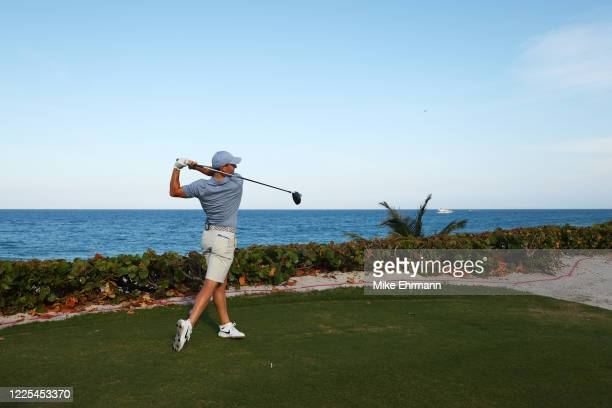 Rory McIlroy of the American Nurses Foundation team plays his shot from the 18th tee during the TaylorMade Driving Relief Supported By UnitedHealth...