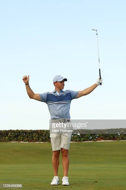 Rory McIlroy of the American Nurses Foundation team reacts on the 17th tee after winning the closest to the pin playoff against Rickie Fowler of the...
