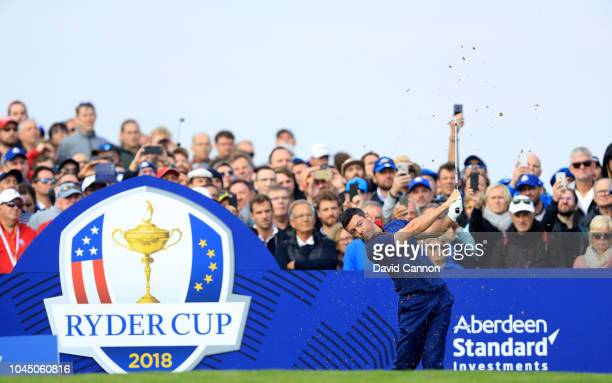 Rory McIlroy of The European Team plays his tee shot on the 11th hole during the morning fourball matches of the 2018 Ryder Cup at Le Golf National...