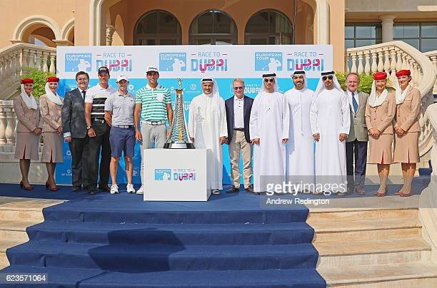 Rory McIlroy Rafael CabreraBello His Excellency Saeed Hareb Secretary General of Dubai Sports Council and Issam Kazim CEO of Dubai's Department of...
