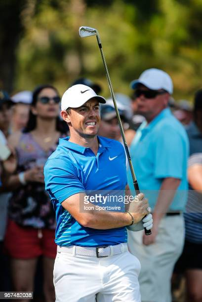 Rory McIlroy reacts after a shot during THE PLAYERS Championship on May 11 2018 at TPC Sawgrass in Ponte Vedra Beach Fl