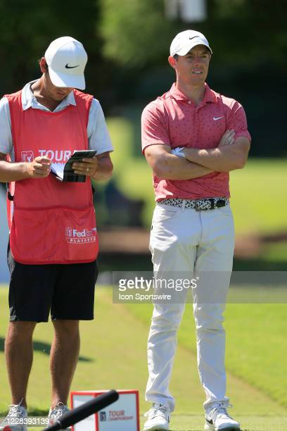 Rory McIlroy waits for the group in front of him to clear the course during the final round of the TOUR Championship on September 7, 2020 at the East...