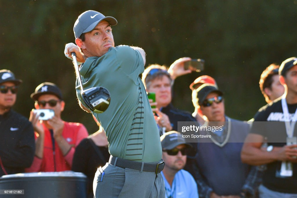 Rory McIlroy watches his tee shot on the 17th hole during the second round of the Genesis Open golf tournament at the Riviera Country Club in Pacific Palisades, CA on February 16, 2018.