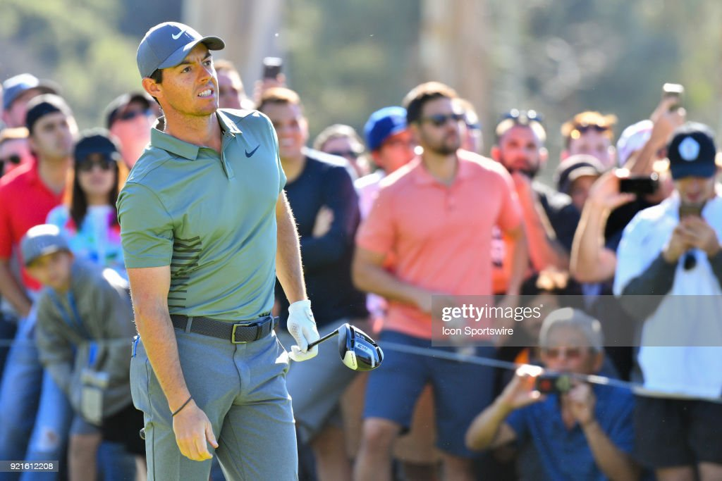 Rory McIlroy watches his tee shot on the 9th hole during the second round of the Genesis Open golf tournament at the Riviera Country Club in Pacific Palisades, CA on February 16, 2018.