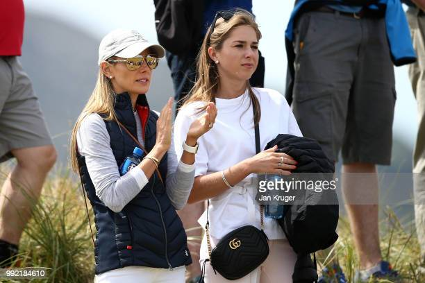 Rory McIlroy's wife Erica looks on during day one of the Dubai Duty Free Irish Open at Ballyliffin Golf Club on July 5 2018 in Donegal Ireland