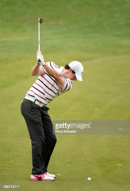 Rory McIroy of Northern Ireland in action during the first round of the WGC - HSBC Champions at the Sheshan International Golf Club on October 31,...