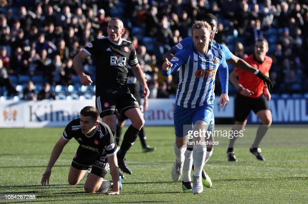 Rory McKenzie of Kilmarnock celebrates after he scores his team's opening goal during the Scottish Ladbrokes Premiership match between Kilmarnock and...