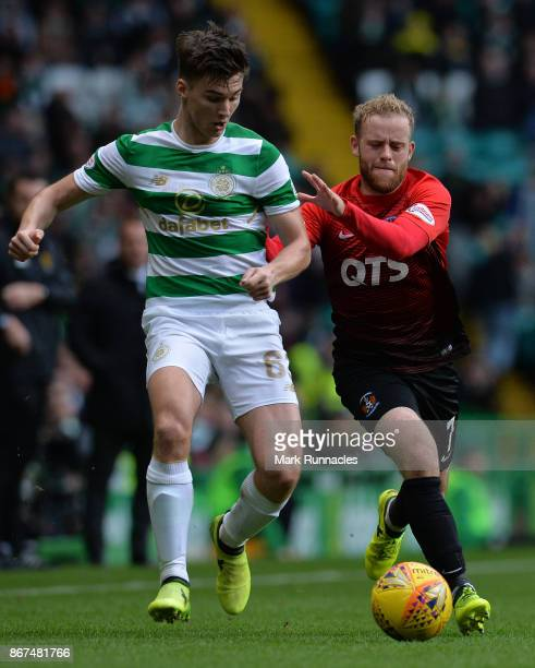 Rory McKenzie of Kilmarnock challenges Kieran Tierney of Celtic during the Ladbrokes Scottish Premiership match between Celtic and Kilmarnock at...