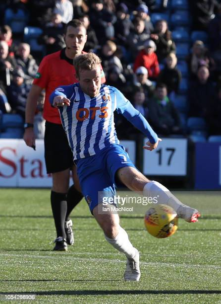 Rory McKenzie of Kilmarnock scores his team's opening goal during the Scottish Ladbrokes Premiership match between Kilmarnock and Hamilton at Rugby...