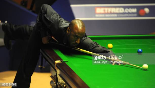 Rory McLeod in action against Mark King during the Betfredcom World Snooker Championship at The Crucible Theatre Sheffield