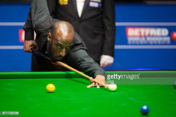 Rory McLeod of England plays a shot during his second round match against Stephen Maguire of Scotland on day eight of Betfred World Championship 2017...