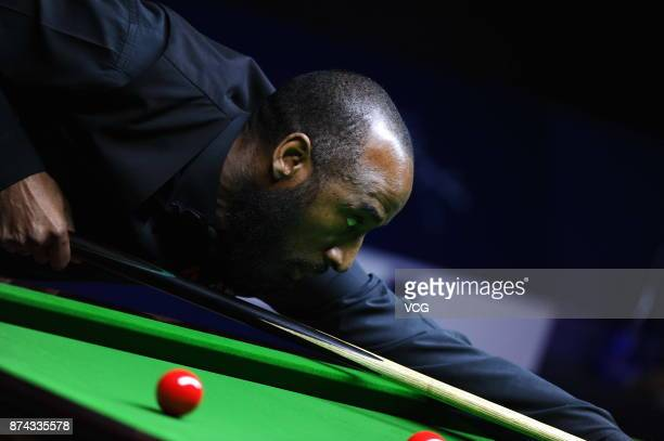 Rory McLeod of England plays a shot during the first round match against Stephen Maguire of Scotland on day two of 2017 Shanghai Masters at Shanghai...