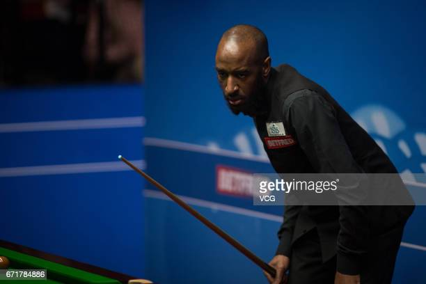 Rory McLeod of England reacts during his second round match against Stephen Maguire of Scotland on day eight of Betfred World Championship 2017 at...