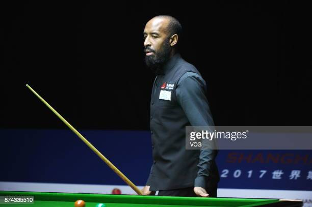 Rory McLeod of England reacts during the first round match against Stephen Maguire of Scotland on day two of 2017 Shanghai Masters at Shanghai Grand...