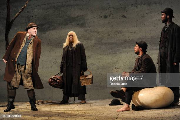 Rory Nolan as Pozzo Garrett Lombard as Lucky Marty Rea as Vladimir and Aaron Monaghan as Estragon in Druid Theatre's production of Samuel Beckett's...