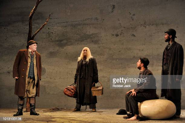 Rory Nolan as PozzoGarrett Lombard as Lucky Marty Rea as Vladimir and Aaron Monaghan as Estragon in Druid Theatre's production of Samuel Beckett's...