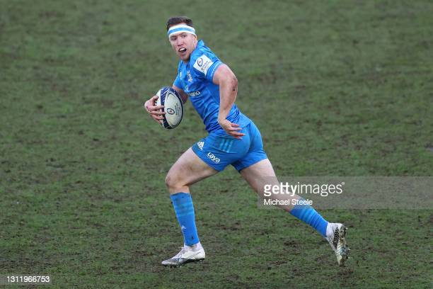 Rory O'Loughlin of Leinster breaks clear during the Heineken Champions Cup Quarter Final match between Exeter Chiefs and Leinster at Sandy Park on...