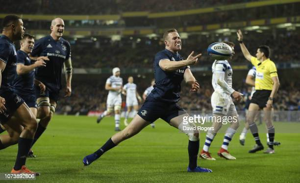 Rory O'Loughlin of Leinster celebrates after scoring their second try during the Champions Cup match between Leinster Rugby and Bath Rugby at the...