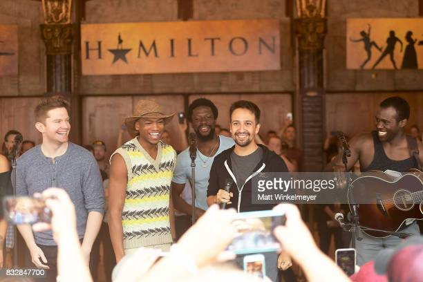 Rory O'Malley Keenan D Washington Michael Luwoye LinManuel Miranda and Joshua Henry perform onstage during the #Ham4Ham featuring LinManuel Miranda...