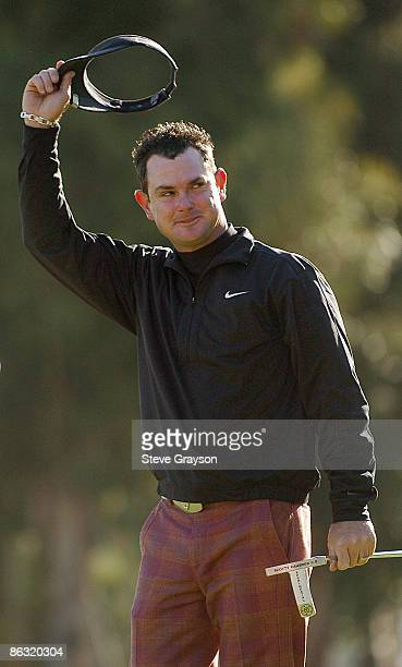 Rory Sabbatini celebrates after a onestroke victory during the final round of the 2006 Nissan Open Presented by Nissan at Riviera Country Club in...