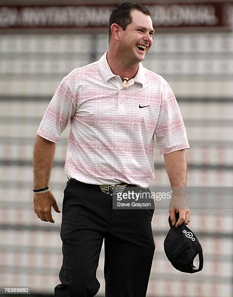 Rory Sabbatini celebrates after his playoff victory in the 2007 Crowne Plaza Invitational at Colonial at the Colonial Country Club in Fort Worth...