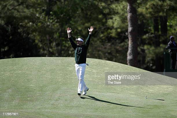 Rory Sabbatini celebrates his eagle on the eighth hole during the final round of The Masters at Augusta National Golf Club in Augusta Georgia Sunday...