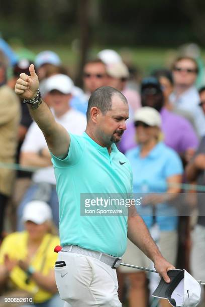 Rory Sabbatini gives the fans a thumbs up as he leaves the 16th green during the final round of the Valspar Championship on March 11 at Westin...
