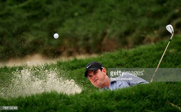 Rory Sabbatini hits from a bunker on the 12th hole during the second round of The Barclays the inaugural event of the new PGA TOUR Playoffs for the...