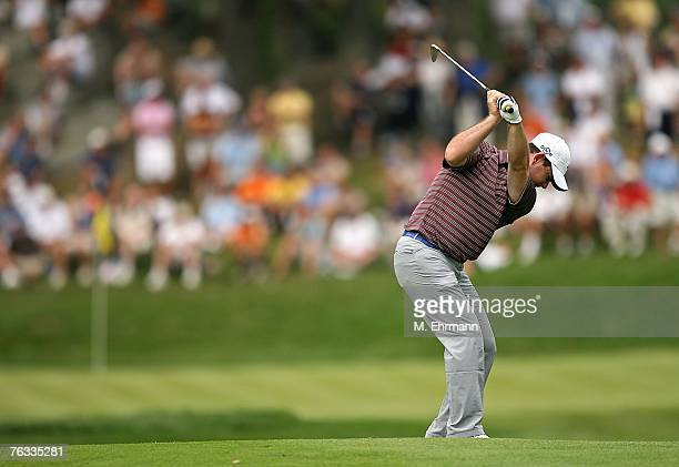Rory Sabbatini hits his approach on the 13th hole during the final round of The Barclays the inaugural event of the new PGA TOUR Playoffs for the...