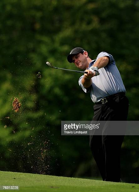 Rory Sabbatini hits his approach shot on the 17th hole during the second round of The Barclays the inaugural event of the new PGA TOUR Playoffs for...