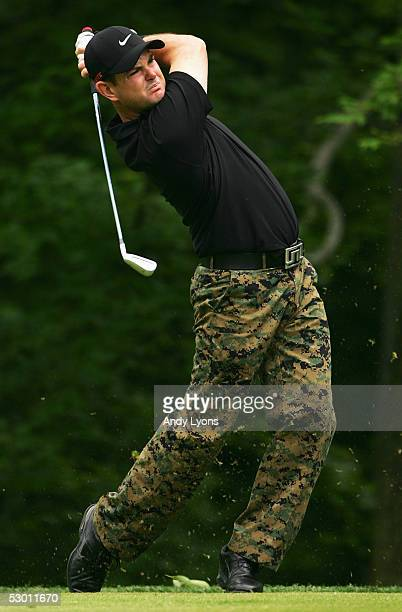 Rory Sabbatini of South Afica hits his second shot on the 16th hole during the first round of The Memorial on June 2 2005 at Muirfield Village Golf...
