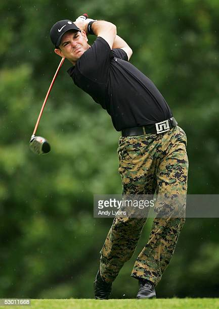 Rory Sabbatini of South Afica hits his tee shot on the 18th hole during the first round of The Memorial on June 2 2005 at Muirfield Village Golf Club...