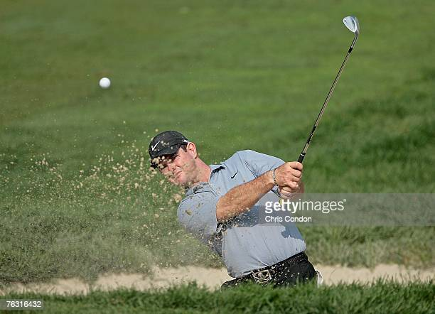 Rory Sabbatini of South Africa hits from a bunker on during the second round of The Barclays held at Westchester Country Club on August 24 2007 in...