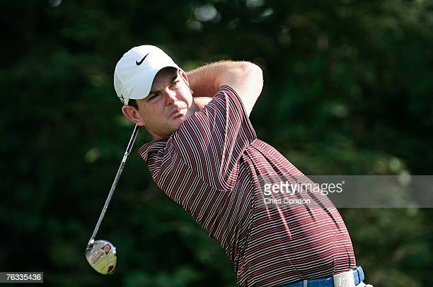 Rory Sabbatini of South Africa hits from the 13th tee during the final round of The Barclays held at Westchester Country Club August 26 2007 in...