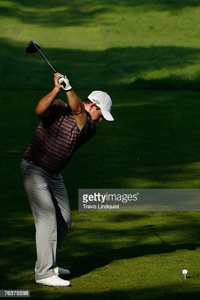 Rory Sabbatini of South Africa hits his tee shot on the 15th hole during the final round of The Barclays the inaugural event of the new PGA TOUR...
